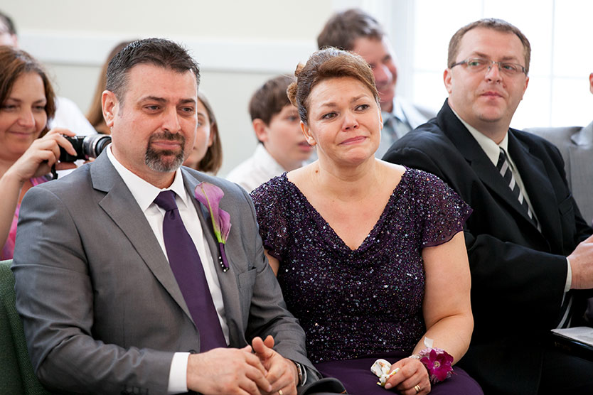 Parents emotions during wedding ceremony