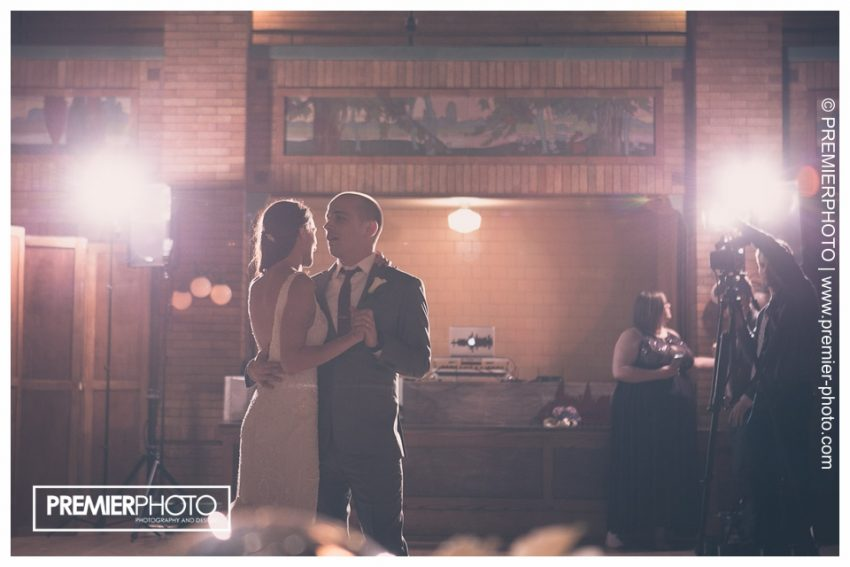 Bride and groom's first dance at Cafe Brauer