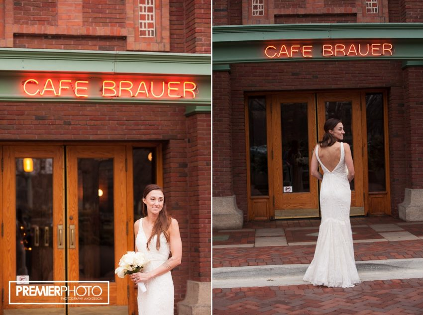 Bride posing at Cafe Brauer, Chicago