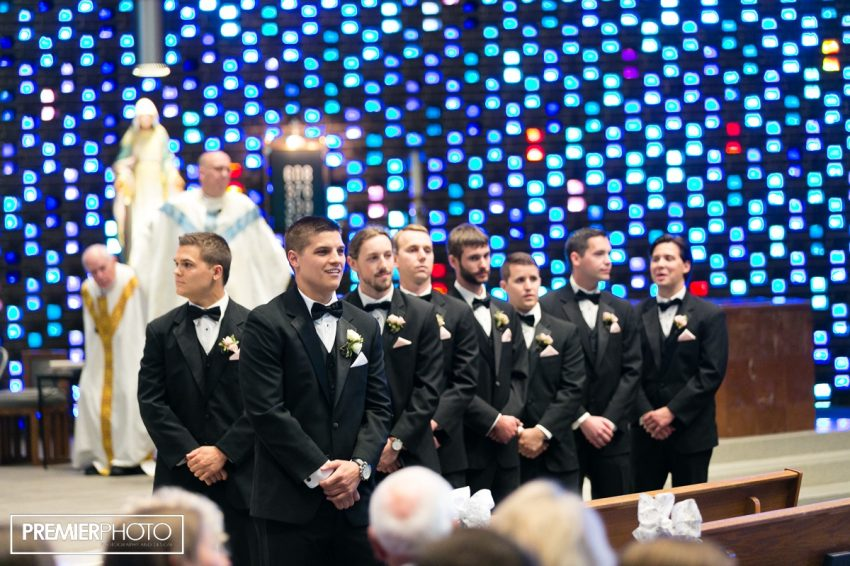 The moment when groom saw his bride for the first time. Saints Peter and Paul Catholic Church - Cary, IL