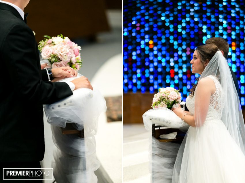 Bride and groom at Saints Peter and Paul Catholic Church - Cary, IL