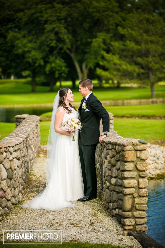Portrait of bride and groom. Old Orchard Country Club Mt. Prospect Wedding by Premier Photo
