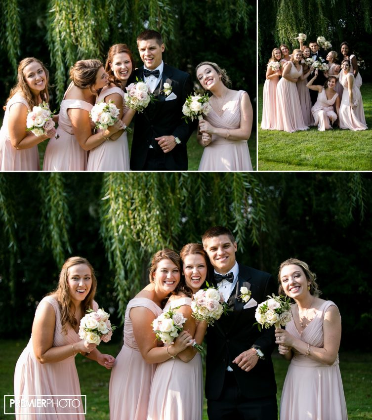 Groom and brides maids having fun. Old Orchard Country Club Mt. Prospect Wedding by Premier Photo