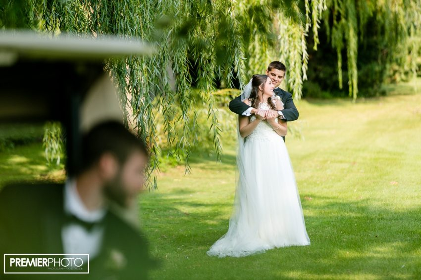 Journalistic style portrait of Bride and Groom. Old Orchard Country Club Mt. Prospect Wedding by Premier Photo