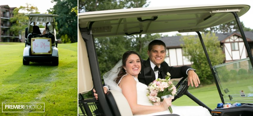 Bride and groom in golf carts. Old Orchard Country Club Mt. Prospect Wedding by Premier Photo