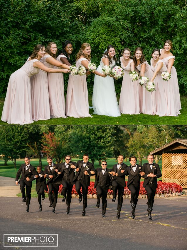 Brides maids, groomsmen, bride and groom. Old Orchard Country Club Mt. Prospect Wedding by Premier Photo