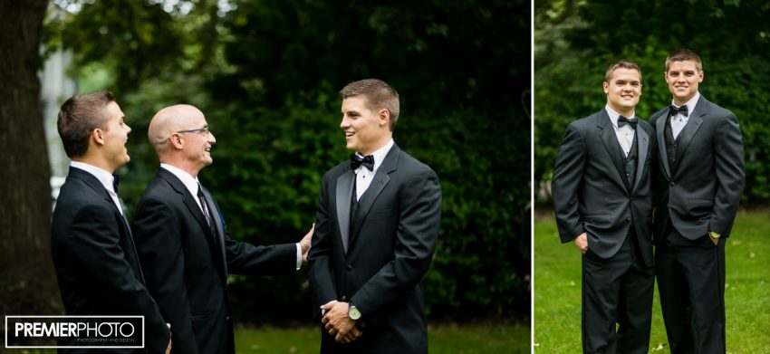 Groom, sibling and father. Wedding by Premier Photo
