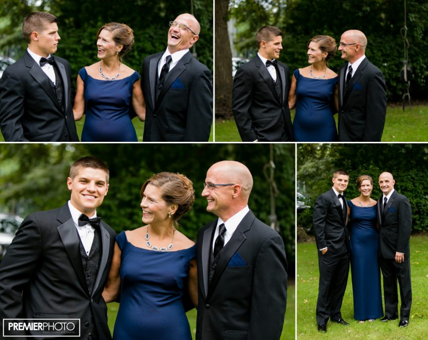 Portrait of groom with parents on wedding day. Wedding by Premier Photo