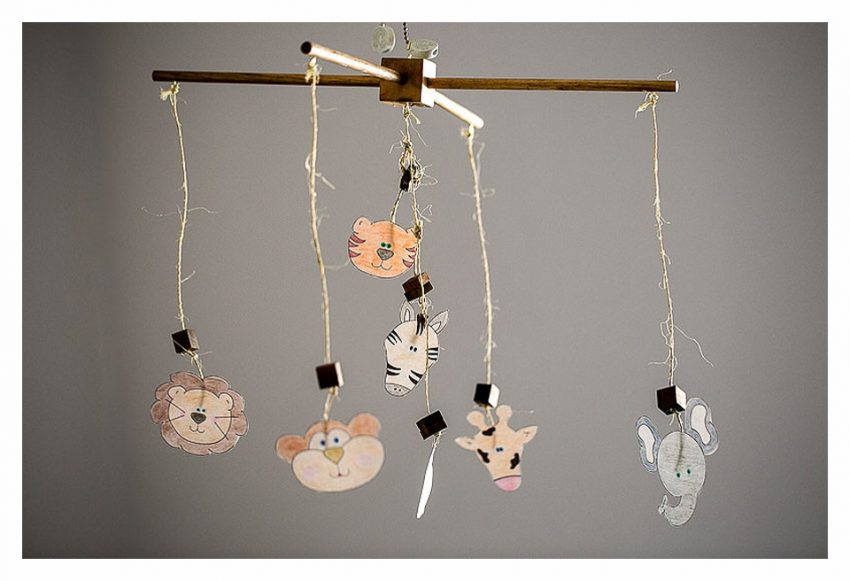 DIY Wood Baby Mobile with Animals