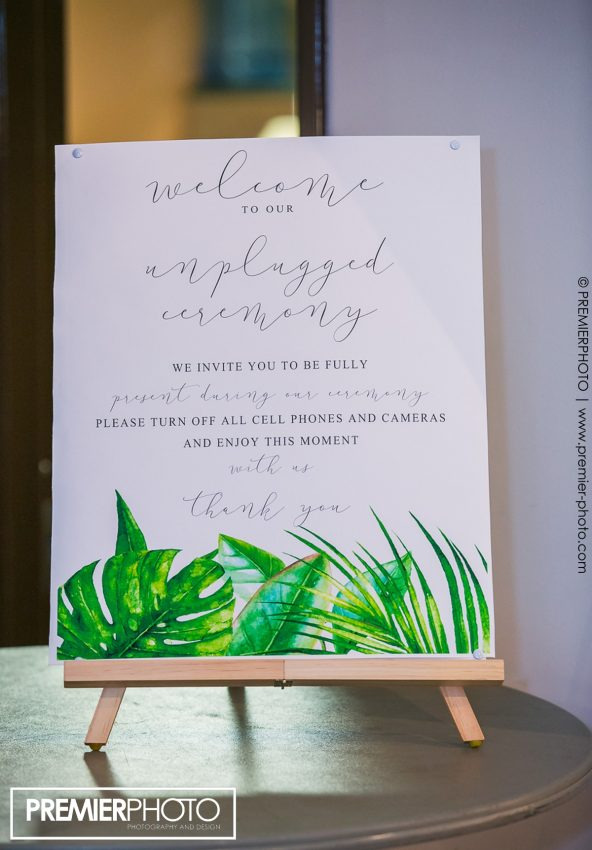 welcome sign for unplugged wedding
