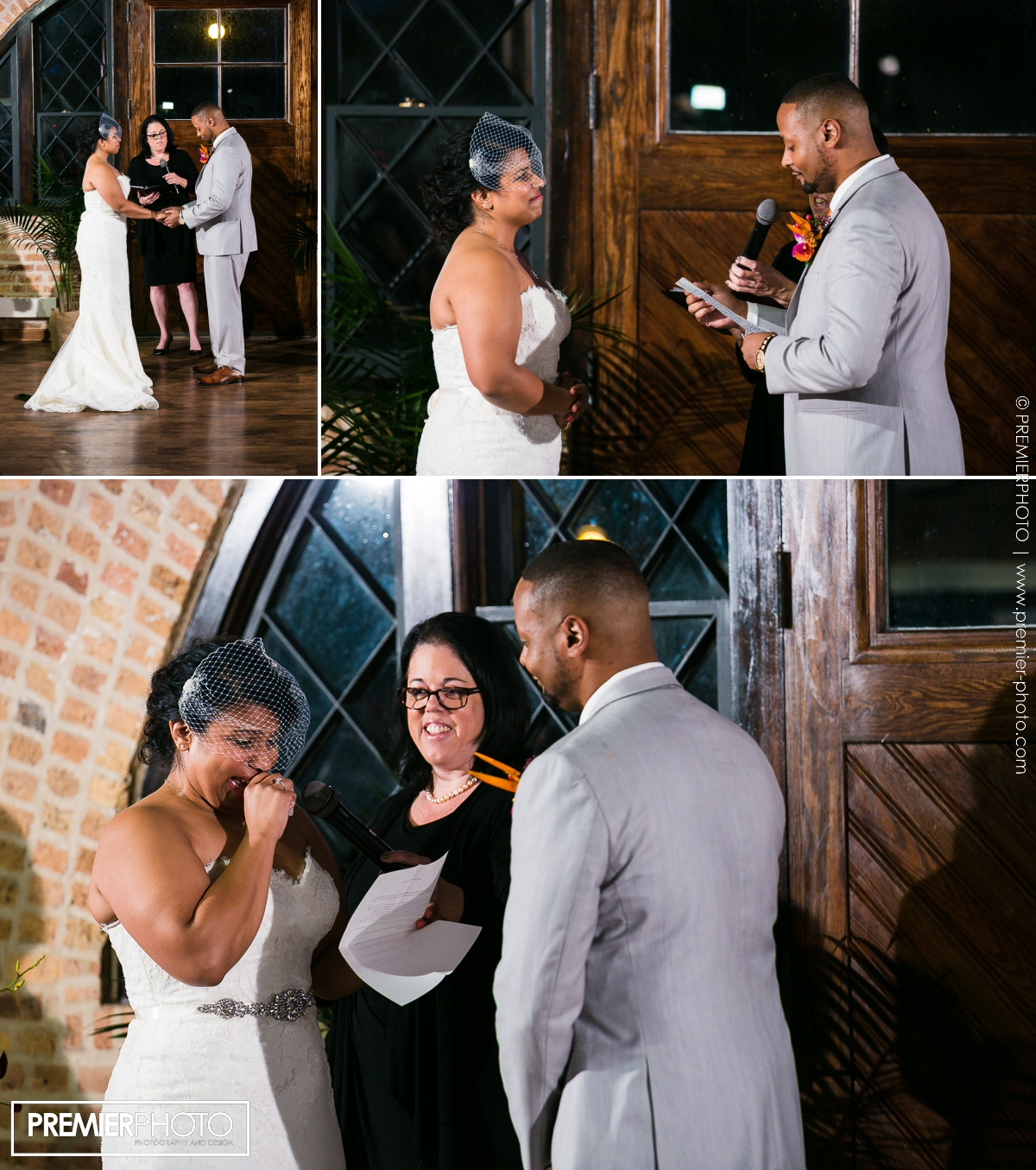 bride and groom reading their vows at their ceremony. National Museum of Puerto Rican Arts & Culture Chicago