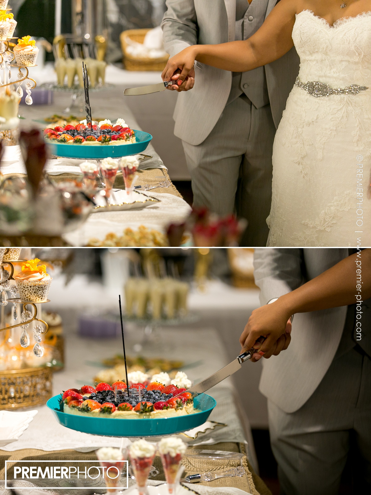 Bride and groom cutting their super delicious fruit cake-tart