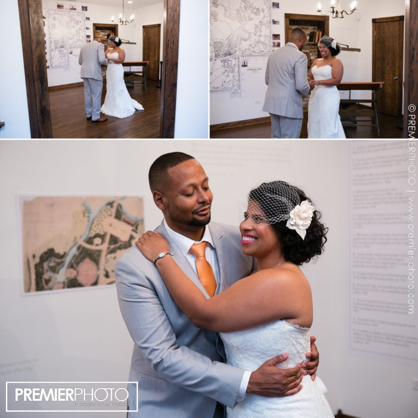 First look. Bride and groom seeing eachother for the first time before ceremony