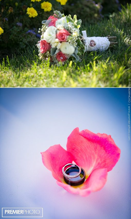 Bride's bouquet and wedding rings
