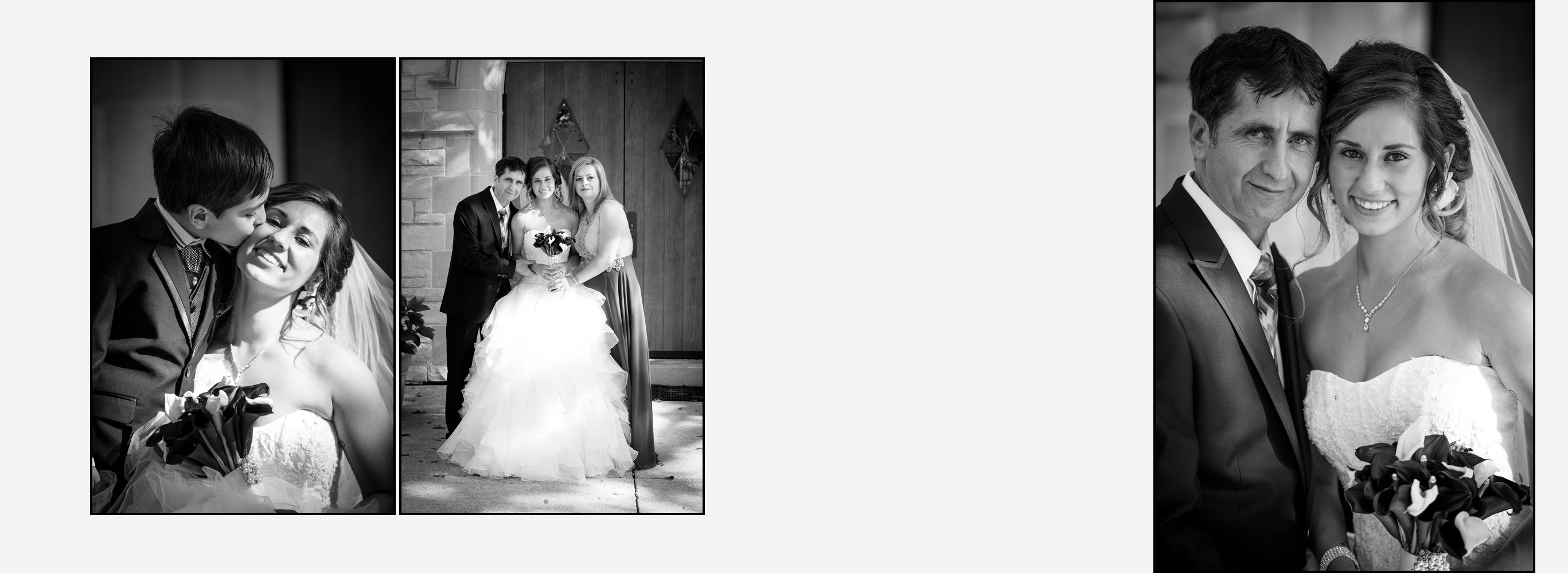 Custom designed wedding album spreads with all black and white photographs