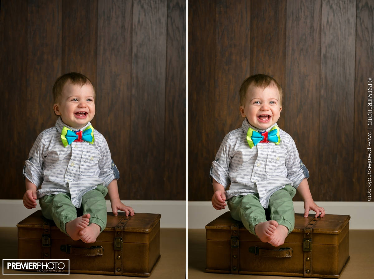 One year old boy birthday photograph