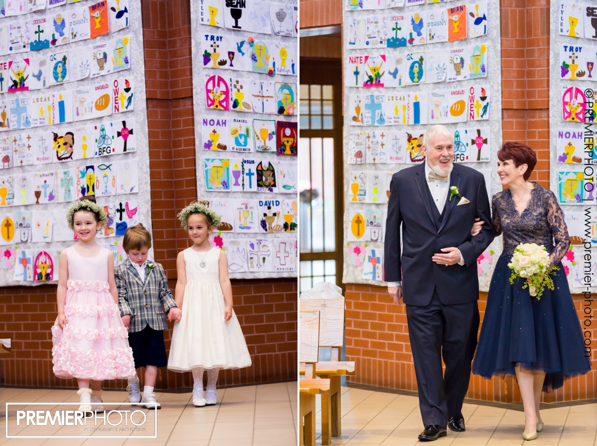 Vows renewal wedding ceremony, bride and groom and grand children walk down the isle
