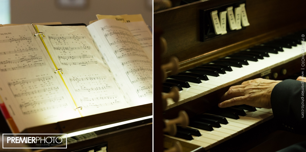 Vows renewal wedding ceremony; piano and song book