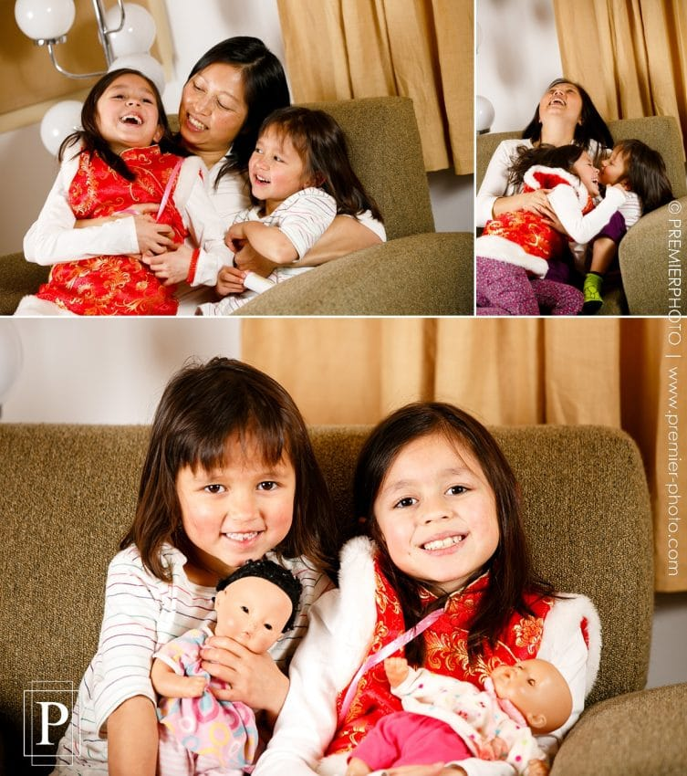 Mixed family of Chinese and American having a casual and relaxed portrait in the intimacy of their home