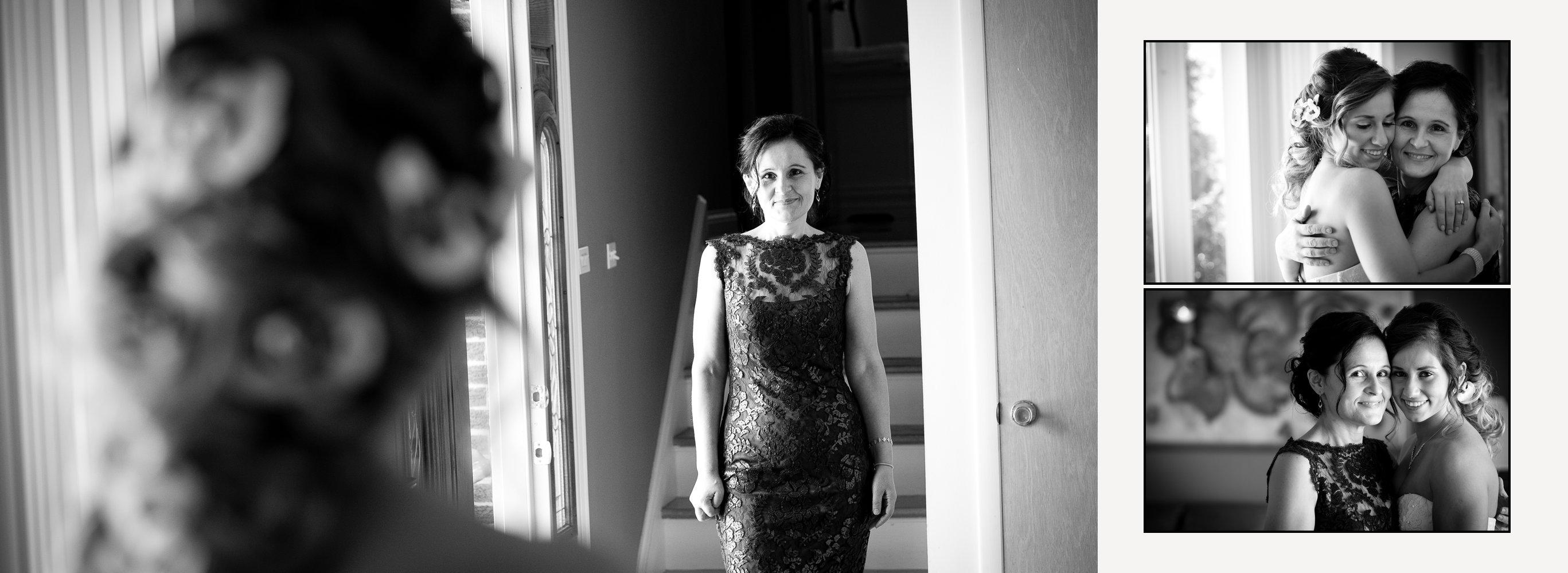 Custom designed wedding album spreads with all black and white photographs