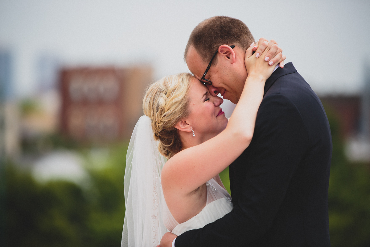 Bride and groom just moments after seeing eachother for the first time